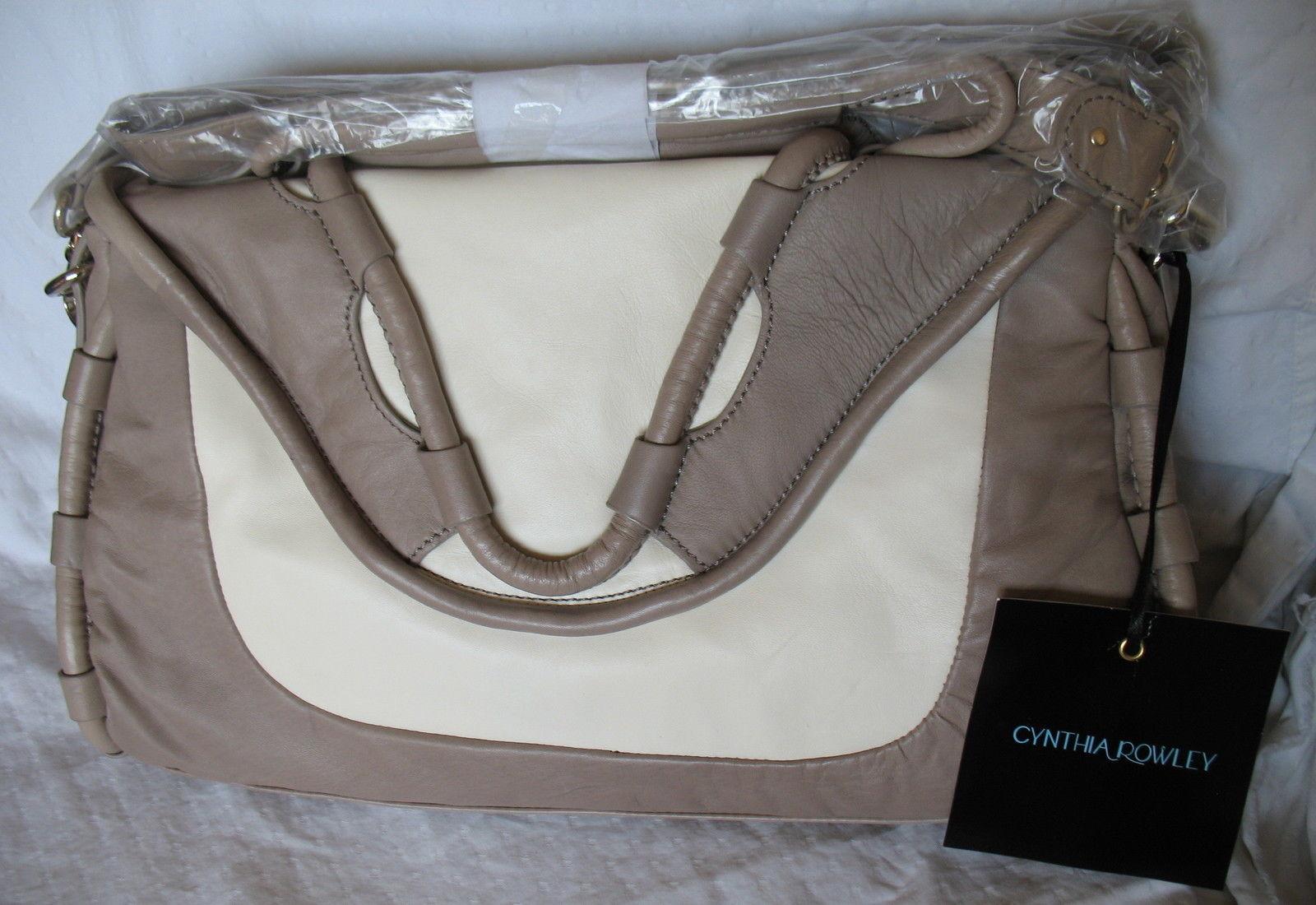 Cynthia Rowley Purse New Handbag Calloway Gray White Crossbody Leather Ash Color