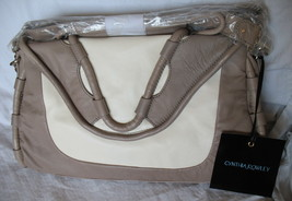 Cynthia Rowley Purse New Handbag Calloway Gray White Crossbody Leather Ash Color image 1