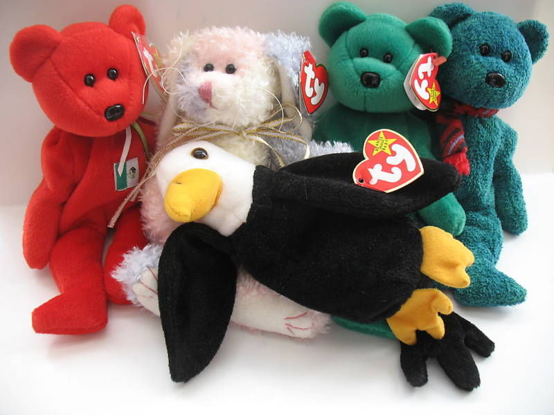 Ty Beanie Babies Osito May Erin Wallace Baldy Lot of 5 Attic Treasures Hang Tags