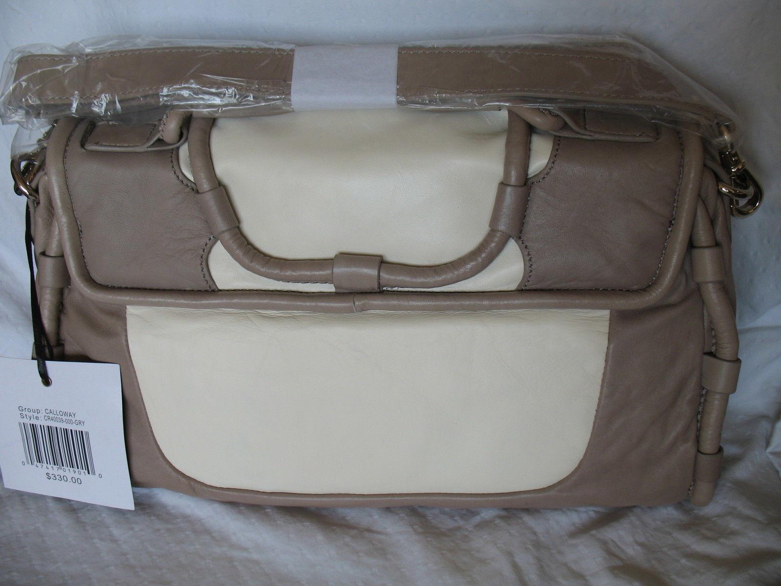 Cynthia Rowley Purse New Handbag Calloway Gray White Crossbody Leather Ash Color image 2