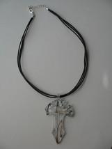 Cross Pendant Murano Glass Choker Necklace New Triple Cord Style Jewelry image 1