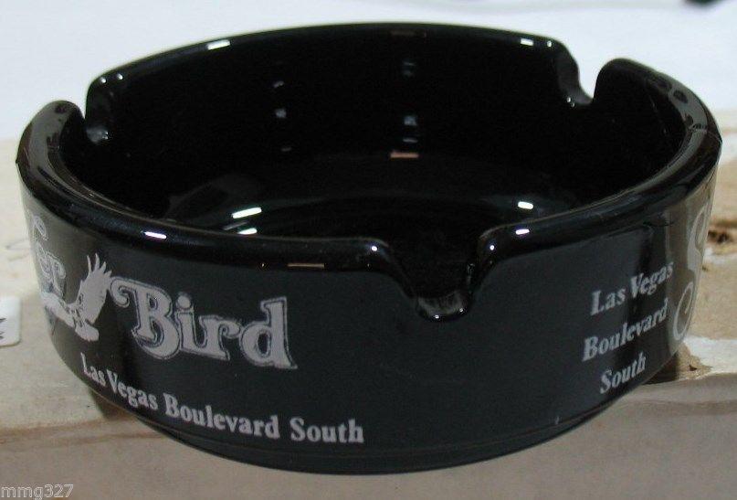 Las Vegas Silver City Silver Bird Silver Nugget Ashtray Black Glass Vintage image 2