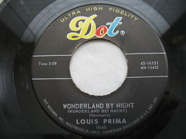Louis Prima 45 RPM Dot Record Wonderland By Night Hi Fi #16151 Ol Man Mose image 2