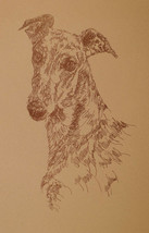 GREYHOUND DOG ART #267 by Stephen Kline will add dogs name free FAWN RED... - $49.45