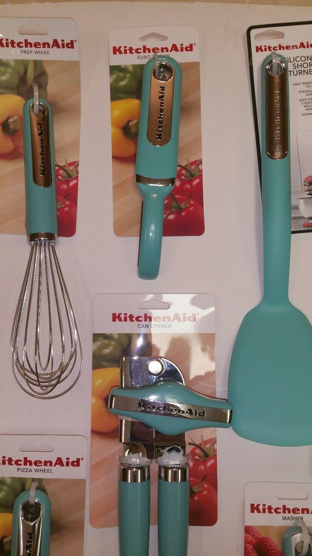 ... New Aqua Sky Blue KitchenAid Utensils Set 10 Pieces