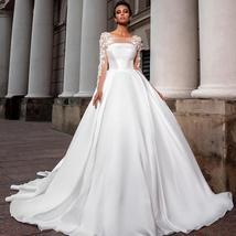 European Princess Satin Maternity Wedding Gown A-line Long Sleeve Floral Appliqu