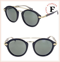 GUCCI 0090 Gold Black Green Titanium Retro Round Sunglasses GG0090S Auth... - $440.55