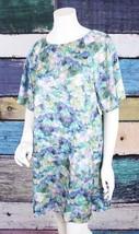 New CeCe Cynthia Steffe 6 Blue Fan Print Watercolor Satin Shift Dress No... - $1.113,17 MXN