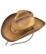 Henschel Hats 3220 Natural Australian Raffia Straw Shapeable Western Con... - $40.00