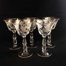 Cambridge Elegant Glass BLOSSOM TIME 3675 Oval in Stem Liquor 5 1/2 Gobl... - $58.89