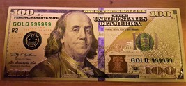 24K .999 Pure Gold Colorized $100 Dollar Bill Bank Note - Brand New Cond... - $4.99