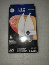2 Bulbs GE LED Dimmable 40w Replacement/4.2w Bulbs 300lm, Frosted Finish, (3A) - $6.00