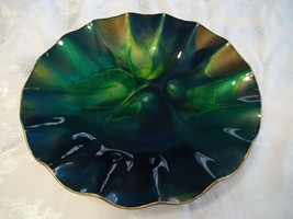 "Seetusee Mayfair Glass Round 12.5"" dish Leather backing M51 Blue Green G... - $59.40"