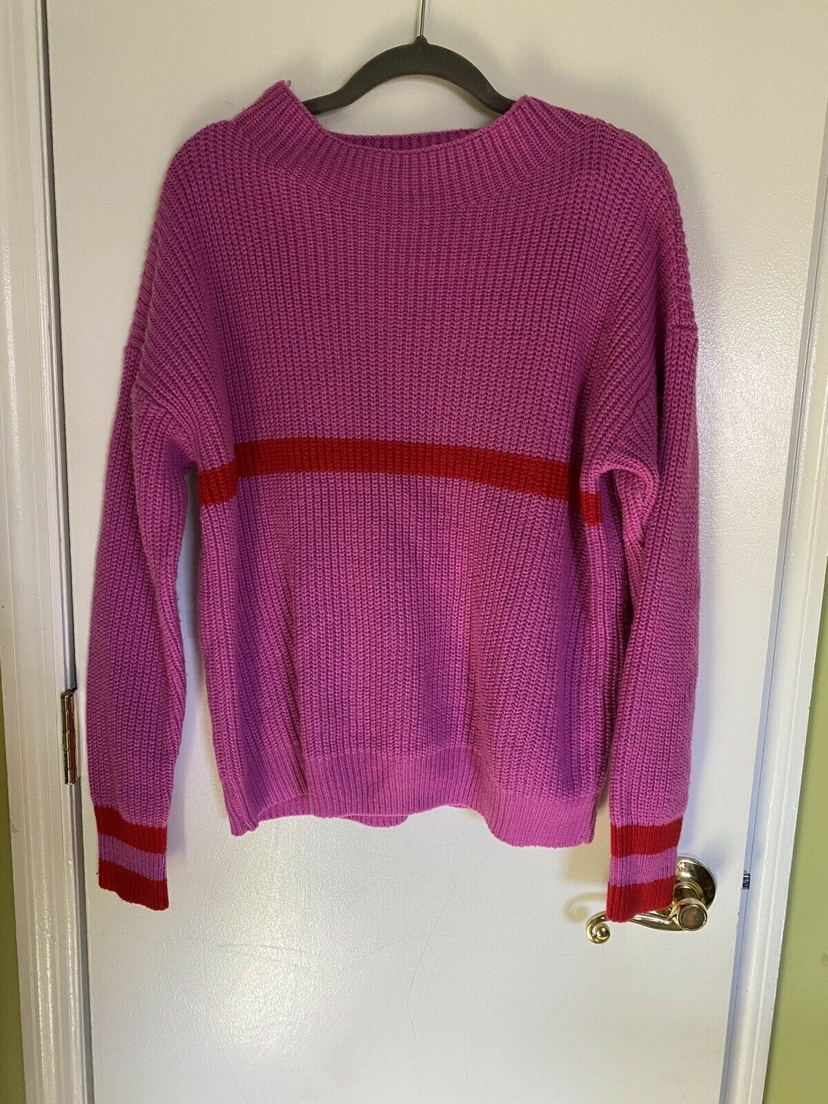 Primary image for SHEIN Pink Color Block Red Stripe Knit Cozy Oversized Small Long Sleeve Sweater