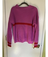 SHEIN Pink Color Block Red Stripe Knit Cozy Oversized Small Long Sleeve ... - $9.74