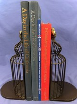Heavy Steel BIRD CAGE BOOKENDS for Tall Books - Coffee Table Books.   bo... - $16.45