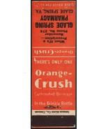 Vintage matchbook cover ORANGE CRUSH soda pop Glade Spring Pharmacy Virg... - $8.99