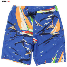Polo Ralph Lauren Rlx Mens Swim Shorts Swimwear Sz 36 Polyester Sailing Ariel - $42.03