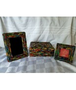 Two's Company Pic Frames and Box Beautiful Glass Fragment Mosaic Made In... - $118.70