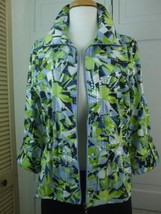 Ruby Red Jacket Sz 10 Blue Green White Polyester Fabric w Clear Plastic ... - $29.65