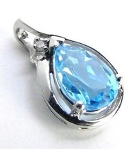 Genuine 2.00 ctt Blue Topaz & DIAMOND 10K White GOLD Pendant - $155.64