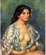 Gabrielle with open blouse by Renoir - 24x32 inch Canvas Wall Art Home D... - $51.99