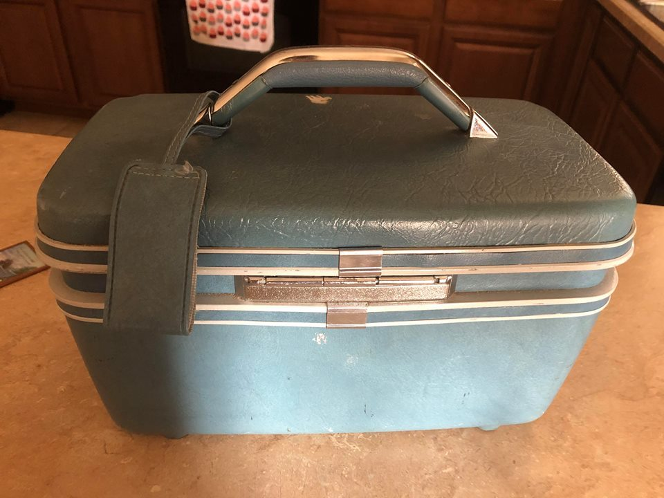 Vintage Blue Samsonite Train Case Suitcase Luggage Carrier Carry On Makeup Bag C
