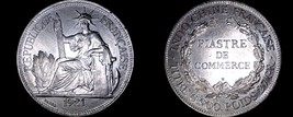 1921-H French Indo-China 1 Piastre World Silver Coin - Vietnam - $299.99