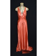 BCBG Collection Max Azria Atelier Orange SILK Gown Embellished Long Tail  - $650.34