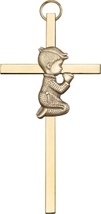 Praying Boy - Wall Cross  - Antique Gold & Polished Brass Cross - $40.99