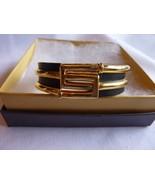 Vintage Crown Trifari Gold Tone Black Enamel Clamper Bracelet - $48.95
