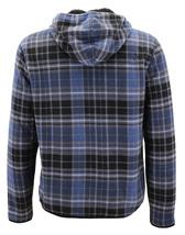 Men's Casual Flannel Zip Up Fleece Lined Plaid Sherpa Hoodie Lightweight Jacket image 9
