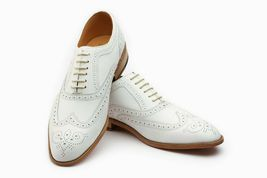 Men White Tone Brogues Toe Wing Tip Premium Leather Oxford Handmade Shoes - $139.99+