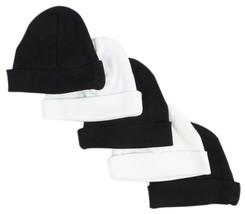 Bambini 031-BLACK-3-W-2 Baby Caps Black & White - Pack of 5 - $17.33
