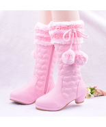 Girls Pink Pom Pom  Winter Boots  fashion princess snow boots for girls  - $79.99+
