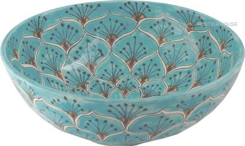 "Mexican Talavera Vessel Sink ""Turquoise Peacock"" image 2"
