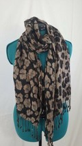 Womens Scarf Animal Print Brown Black Tassel - $11.65