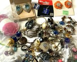 Lot Costume Jewelry Silver Rhinestones Gold Tone Trifari Earrings Pierced Hoops