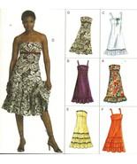 Misses Vogue Party Strapless Ruffled Summer Sundress Dress Sew Pattern 6-10 - $11.99