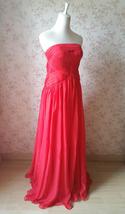 Elegant Red Strapless Sheer Mermaid Maxi Dress Chiffon Sheath Red Evening Dress image 4