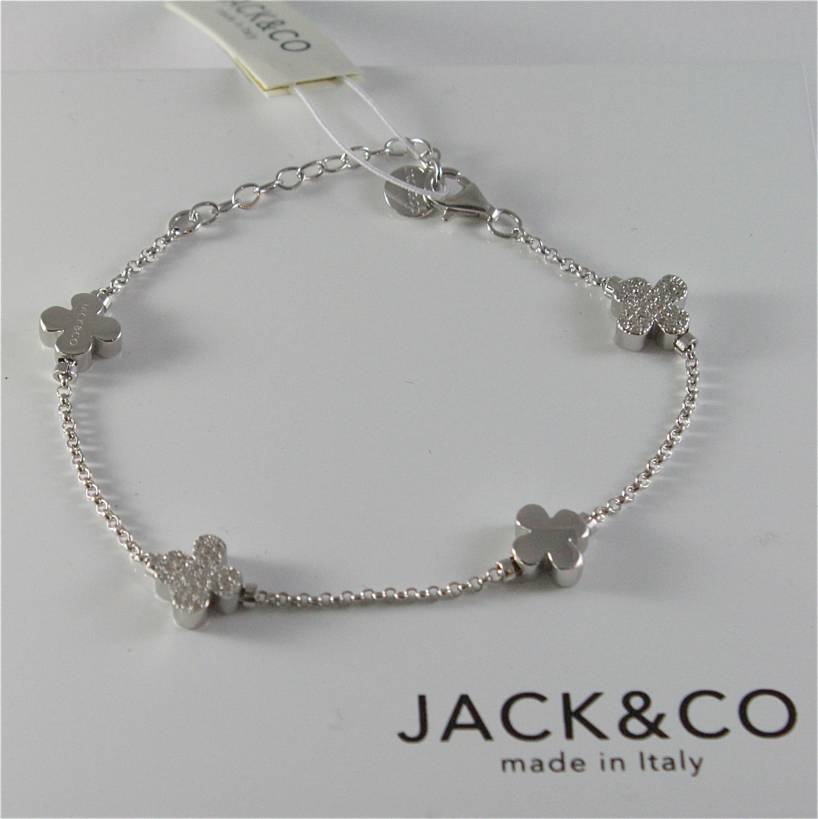 SILVER 925 BRACELET JACK&CO WITH FOUR-LEAF CLOVER AND ZIRCONIA CUBIC JCB0742