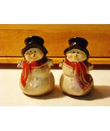 Winter Time Snowman Salt & Pepper Shakers Set - Porcelain Earthenware - $10.90