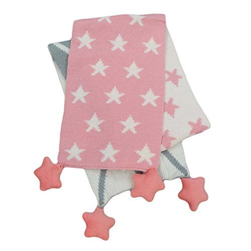 Pink and Grey Autumn Winter Baby Scarves Cotton Star Warm Scarf Muffler