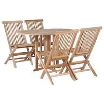 vidaXL Solid Teak Folding Dining Set 5 Piece Drop Leaf Table Chairs Outdoor - £263.87 GBP