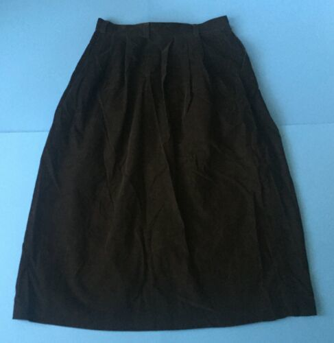 Vintage L.L. Bean Black Corduroy Skirt May Fit 2 4 6 Long Pleated Soft