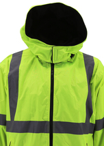 Men's Class 3 Safety High Visibility Water Resistant Reflective Neon Work Jacket image 4