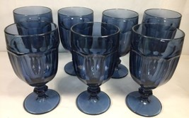 Set of 7 Libbey Duratuff Dusky Blue Glass Wine / Water Goblet Cups Gibra... - $65.78