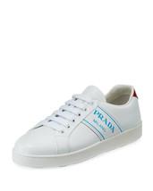 Prada Blue Logo Platform Low-Top Sneakers Size 40 MSRP: $590.00 - $455.40