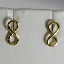 18K YELLOW GOLD EARRINGS WITH MINI INFINITY SYMBOL, INFINITE, MADE IN ITALY image 1