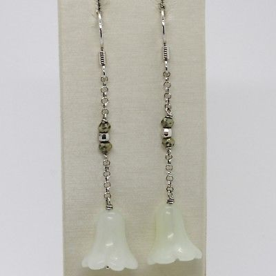 925 STERLING SILVER PENDANT EARRINGS WITH GREEN JADE FLOWER, BELL, BELLFLOWER